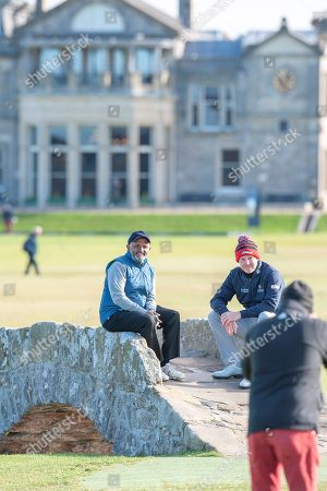 Stephen Gallacher (right) and Shantanu Narayen pose for a picture on the Swilken Bridge on the 18th hole, during the Alfred Dunhill Links Championships 2018 at St Andrews, West Sands