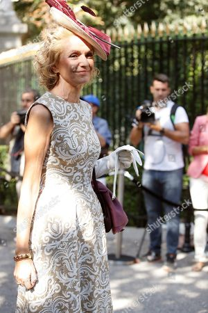 Stock Picture of Pilar Gonzalez de Gregorio (C), daughter of late Duchess of Medina Sidonia Luisa Isabel Alvarez de Toledo, poses for photographers upon her arrival at Palace of Liria to attend the wedding ceremony of the Duke of Huescar, Fernando Fitz-James Stuart y Solis (unseen), and his fiancée Sofia Palazuelo (unseen) in Madrid, Spain, 06 October 2018. The Duke of Huescar is the oldest son of current Duke of Alba, Carlos Fitz-James Stuart, and the heir to the dukedom of Alba.
