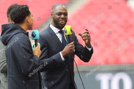 Ledley King working for BT Sport during the Premier League match between Tottenham Hotspur and Cardiff City at Wembley Stadium, London