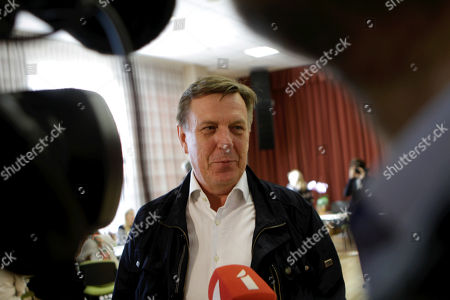 Latvian Prime Minister Maris Kucinskis speaks to media during the Parliamentary elections in Ikskile, Latvia, 06 October 2018. Latvia holds the 13th parliamentary elections on 06 October 2018.