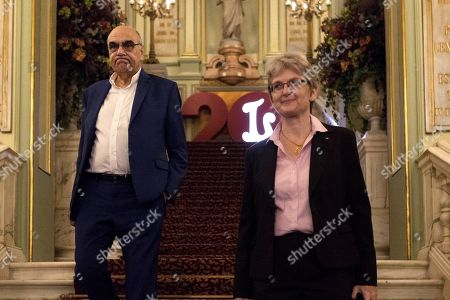 Salvador Alemany (L), President of the Patronage of the Gran Teatro del Liceu theater, and Christina Sheppelmann, artistic director of Gran Teatro del Liceu theater, in their way to talk to media, after the death of Spanish soprano Monserrat Caballe, at the theater in Barcelona, Catalonia, northeastern Spain, 06 October 2018. Caballe died early morning 06 October 2018 at Sant Pau Hospital in Barcelona, where she was admitted last September, according to hospital's sources.