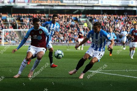 Matthew Lowton of Burnley and Huddersfield's Chris Lowe