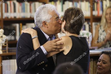 Portuguese Prime Minister, Antonio Costa (L), greets Saramago's widow Pilar del Rio (R) during an event to mark the 20th anniversary of the award of Literature Nobel Prize to late Portuguese writer Jose Saramago at Saramago's house in the town of Tias, in Lanzarote island, Canary Islands, Spain, 06 October 2018. Saramago spent his last years in the Spanish island.