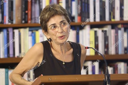 Pilar del Rio, widow of late Portuguese writer Jose Saramago, delivers a speech during an event to mark the 20th anniversary of the award of Literature Nobel Prize to Saramago at Saramago's house in the town of Tias, in Lanzarote island, Canary Islands, Spain, 06 October 2018. Saramago spent his last years in the Spanish island.