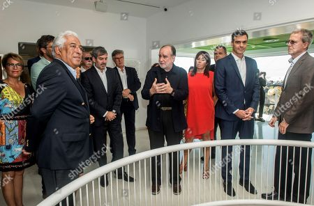 Stock Image of Spanish Prime Minister, Pedro Sanchez (2-R), ands his Portuguese counterpart, Antonio Costa (2-L), visit Cesar Manrique Foundation in Lanzarote island, Canary Islands, Spain, 06 October 2018. Sanchez and Costa are on the island to mark the 20th anniversary of the award of Literature Nobel Prize to late Portuguese writer Jose Saramago. Saramago spent his last years in the Spanish island.