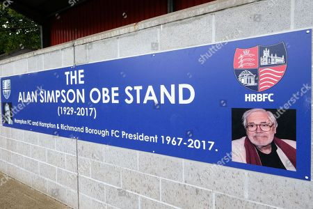 Sign for the Alan Simpson Stand ahead of Hampton & Richmond Borough vs AFC Hornchurch, Emirates FA Cup Football at the Beveree Stadium on 6th October 2018