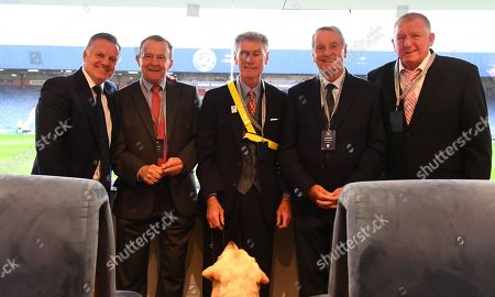 QPR legends L-r Andy Sinton, John Hollins, Dave Thomas (and his guide dog Hannah), Frank McLintock and Ron Abbott