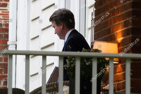 Supreme Court nominee Brett Kavanaugh departs his home, enroute the Supreme Court to be sworn-in as an Associate Justice, in Chevy Chase, Md
