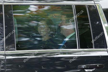 Stock Picture of Supreme Court nominee Brett Kavanaugh and his wife Ashley Estes Kavanaugh depart their home in Chevy Chase, Md., en route to the Supreme Court