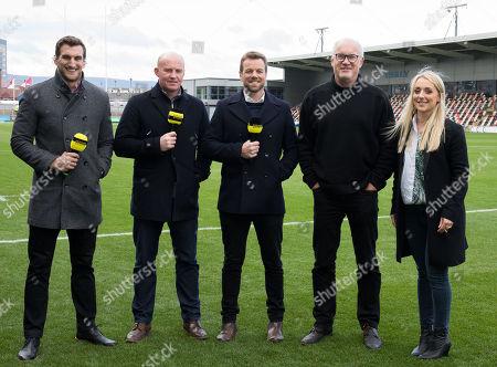 Dragons vs Cardiff Blues. Premier Sports Sam Warburton, Martyjn Williams, Jason Harries, Eddie Butler and Lauren Jenkins