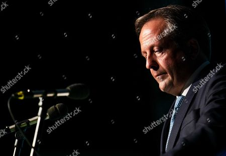Dutch D66 leader Alexander Pechtold speaks to delegates during a party congress in s-Hertogenbosch, The Netherlands, 06 October 2018. He announced that he quits as head of the party and will leave as an MP on 09 October 2018.