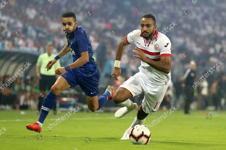 Al-Hilal player Mahmoud Kahraba (L) in action for the ball with Al-Al-Zamalek player Mahmoud Kahraba (R) during the Egyptian-Saudi Super Cup match between Saudi al-Hilal and Egypt's Zamalek, in Riyadh, Saudi Arabia, 06 October 2018.