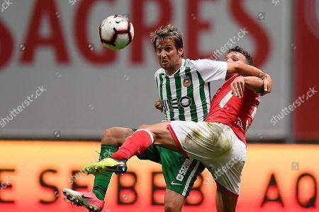 Sporting de Braga´s Sequeira (R) vies for the ball with Rio Ave´s Fabio Coentrao during their Portuguese First League soccer match held at Braga Municipal, Braga, Portugal, 06 October 2018.