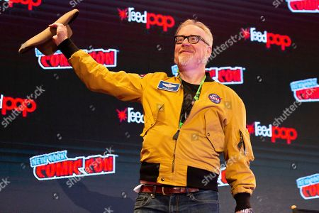 "Adam Savage greets the audience at the ""An Hour with Adam Savage"" panel on the third day of New York Comic Con"