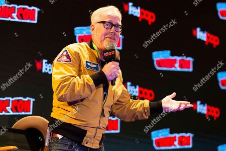 "Adam Savage speaks on stage during the ""An Hour with Adam Savage"" panel on the third day of New York Comic Con"