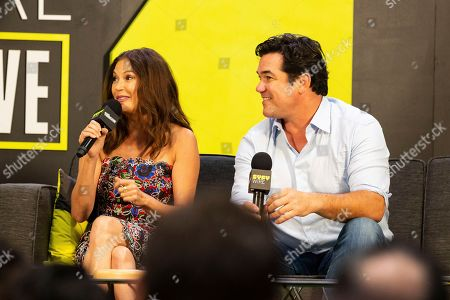 Teri Hatcher, left, and Dean Cain speak on stage on the third day of New York Comic Con