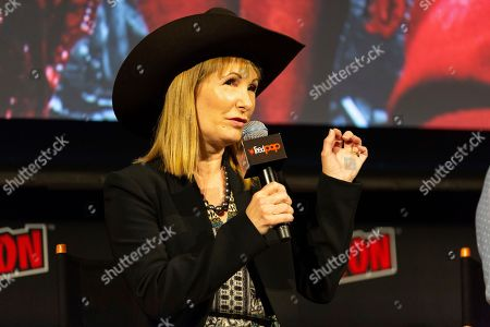 """Gale Anne Hurd speaks on stage at """"The Walking Dead"""" panel on the third day of New York Comic Con"""