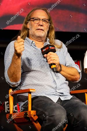 """Greg Nicotero speaks on stage at """"The Walking Dead"""" panel on the third day of New York Comic Con"""