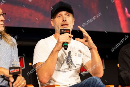 """Andrew Lincoln speaks on stage at """"The Walking Dead"""" panel on the third day of New York Comic Con"""