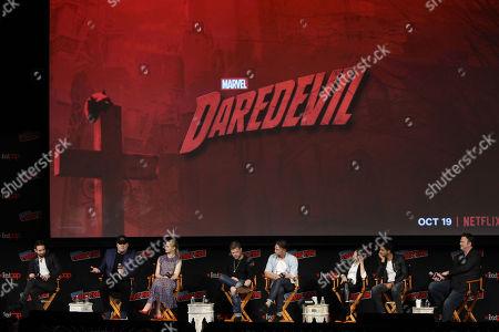 Jeph Loeb (Head of Marvel Television), Charlie Cox, Vincent D'Onofrio, Deborah Ann Woll, Elden Hanson, Wilson Bethel, Joanne Whalley, Jay Ali, Erik Oleson (Showrunner)