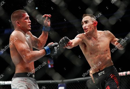 Tony Ferguson, right, punches Anthony Pettis during a lightweight mixed martial arts bout mixed martial arts bout at UFC 229 in Las Vegas, . Ferguson won by technical knockout during the second round