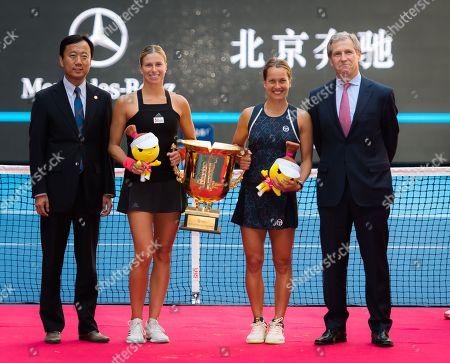 Andrea Hlavackova & Barbora Strycova of the Czech Republic pose with their trophy at the doubles trophy ceremony