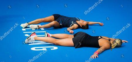 Andrea Hlavackova & Barbora Strycova of the Czech Republic celebrate winning the doubles title at the 2018 China Open WTA Premier Mandatory tennis tournament