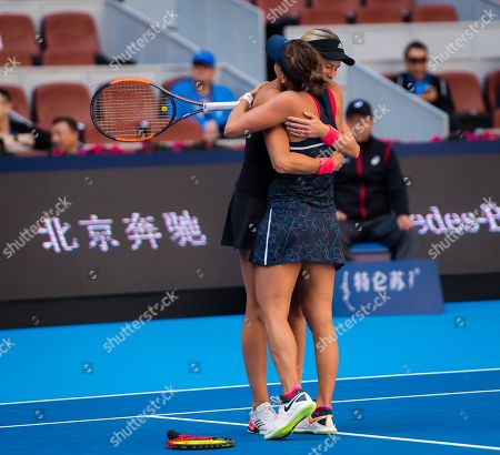 Andrea Hlavackova & Barbora Strycova of the Czech Republic in action during the doubles final