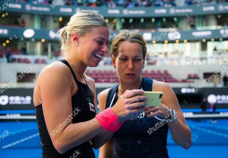 Stock Picture of Andrea Hlavackova & Barbora Strycova of the Czech Republic celebrate winning the doubles title at the 2018 China Open WTA Premier Mandatory tennis tournament