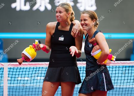Andrea Hlavackova & Barbora Strycova of the Czech Republic during the trophy ceremony after the doubles final