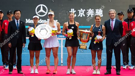 Stock Image of Xu Yifan of China, Gabriela Dabrowski of Canada, Andrea Hlavackova & Barbora Strycova of the Czech Republic during the trophy ceremony after the doubles final