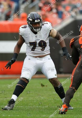 Ronnie Stanley, Myles Garrett. Baltimore Ravens offensive tackle Ronnie Stanley (79) sets to block Cleveland Browns defensive end Myles Garrett (95) during an NFL game, in Cleveland. The Browns won 12-9 in overtime