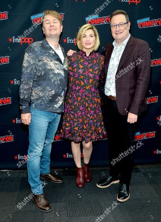 Stock Picture of Matt Strevens, Jodie Whittaker and Chris Chibnall