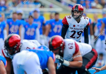 Stock Picture of San Diego State place kicker John Baron II (29 prepares to kick a field goal against Boise State in the first half of an NCAA college football game, in Boise, Idaho. San Diego State won 19-13