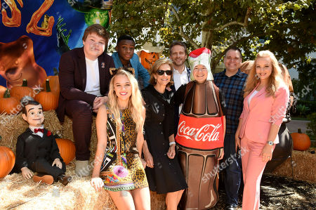 Stock Photo of Slappy, Jeremy Ray Taylor, Caleel Harris, Madison Iseman, Deborah Forte, Ari Sandel, Ken Jeong, Mick Wingert, and Wendi McLendon-Covey attend a special screening of Columbia Pictures and Sony Pictures Animation's 'Goosebumps 2: Haunted Halloween' on the Sony Pictures Studio Lot.