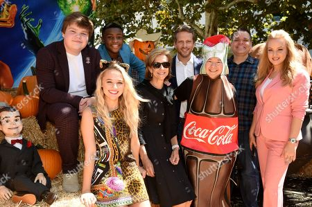Stock Image of Slappy, Jeremy Ray Taylor, Caleel Harris, Madison Iseman, Deborah Forte, Ari Sandel, Ken Jeong, Mick Wingert, and Wendi McLendon-Covey attend a special screening of Columbia Pictures and Sony Pictures Animation's 'Goosebumps 2: Haunted Halloween' on the Sony Pictures Studio Lot.