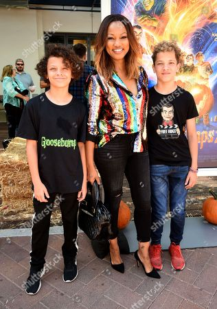 Garcelle Beauvais, Jax Nilon, and Jaid Nilon attend a special screening of Columbia Pictures and Sony Pictures Animation's 'Goosebumps 2: Haunted Halloween' on the Sony Pictures Studio Lot.