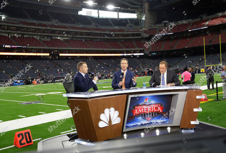 Liam McHugh, Cris Collinsworth, Al Michaels. NBC commentators, from left, Liam McHugh, Cris Collinsworth and Al Michaels before an NFL football game between the Houston Texans and the Dallas Cowboys, in Houston