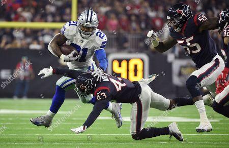 Ezekiel Elliott, Shareece Wright. Dallas Cowboys running back Ezekiel Elliott (21) runs around Houston Texans defensive back Shareece Wright (43) during the first half of an NFL football game, in Houston