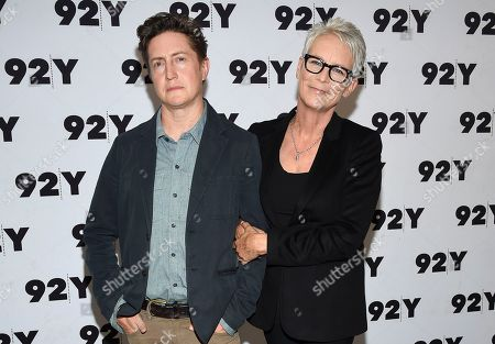 """David Gordon Green, Jamie Lee Curtis. Actor and executive producer Jamie Lee Curtis, right, poses with writer and director David Gordon Green at a screening and conversation for the new film """"Halloween"""" at 92nd Street Y, in New York"""