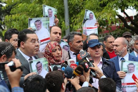 Yemeni Nobel Prize winner Tawakkol Karman (C) and Egyptian dissident politician Ayman Nour (L) participate in a demonstration for missing Saudi journalist Jamal Khashoggi organized by Turkish-Arabic Media Association in front of the Saudi consulate in front of the Saudi consulate in Istanbul, Turkey, 08 October 2018. Turkish President Recep Tayyip Erdogan on 07 October said he is following the developments on the disappearance of Saudi journalist Jamal Khashoggi who has gone missing after visiting the Saudi consulate in Istanbul on 02 October to complete routine paperwork.