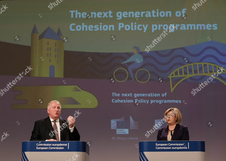 European Committee of the Regions  President, Belgium, Karl-Heinz Lambertz (L) and European Commissioner for Regional Policy Corina Cretu (R) give a press conference on future of Cohesion policy programmes, in Brussels, Belgium, 08 October 2018.