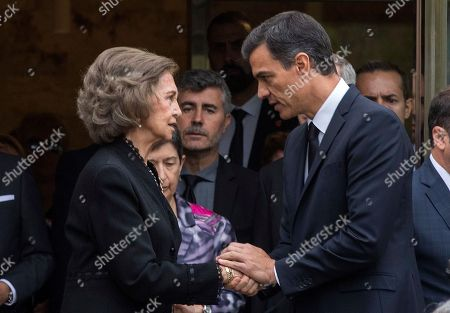 Queen Sofia of Spain shakes hands with Spain's Prime Minister Pedro Sanchez at the end of a funeral service for Montserrat Caballe, in Barcelona, Spain, on . Montserrat Caballe, a Spanish opera singer renowned for her bel canto technique and her interpretations of the roles of Rossini, Bellini and Donizetti died on Saturday. She was 85
