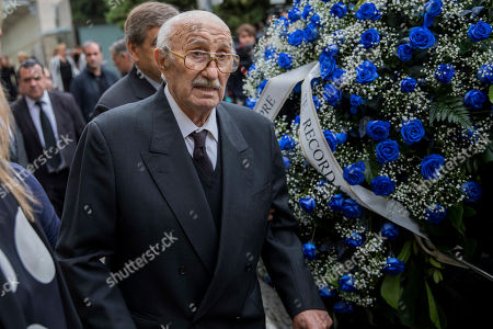 Bernabe Martínez, husband of Montserrat Caballe, walks during her funeral at the municipal mortuary in Barcelona, Spain, . Montserrat Caballe, a Spanish opera singer renowned for her bel canto technique and her interpretations of the roles of Rossini, Bellini and Donizetti died on Saturday. She was 85