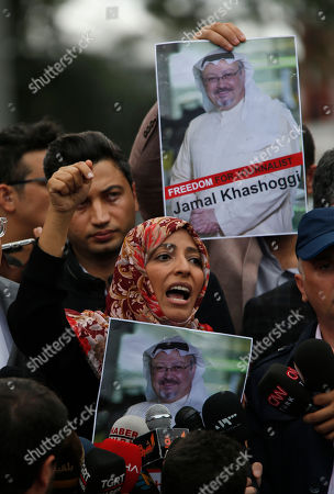 Tawakkol Karman, the Nobel Peace Prize laureate for 2011, gestures as she talks to members of the media regarding the disappearance of Saudi writer Jamal Khashoggi, near the Saudi Arabia consulate in Istanbul, . Khashoggi, 59, went missing on Oct 2 while on a visit to the consulate in Istanbul for paperwork to marry his Turkish fiancée. The consulate insists the writer left its premises, contradicting Turkish officials. He had been living since last year in the U.S. in a self-imposed exile, in part due to the rise of Prince Mohammed, the son of King Salman
