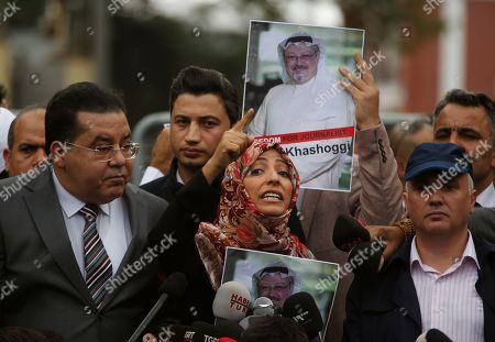 Tawakkol Karman, the Nobel Peace Prize laureate for 2011, gestures as she talks to members of the media about the disappearance of Saudi writer Jamal Khashoggi, near the Saudi Arabia consulate in Istanbul, . Khashoggi, 59, went missing on Oct 2 while on a visit to the consulate in Istanbul for paperwork to marry his Turkish fiancée. The consulate insists the writer left its premises, contradicting Turkish officials. He had been living since last year in the U.S. in a self-imposed exile, in part due to the rise of Prince Mohammed, the son of King Salman