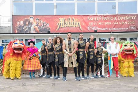Editorial picture of 'Aladdin' pantomime photocall, Cliffs Pavillion Theatre, Westcliff On Sea, Cardiff, Wales, UK - 08 Oct 2018