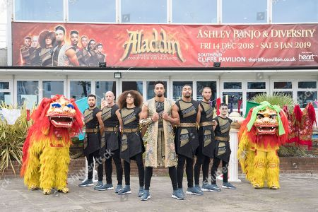 Stock Picture of 08/10/2018 Cliffs Pavillion Theatre, Westcliff On Sea. Photocall for the Pantomine Aladdin. The show stars Ashley Banjo and Diversity along with Ian Royce and David Phipps-Davis. Ashley Banjo and Diversity.