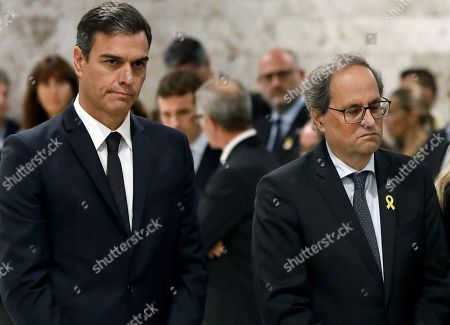 Spanish Prime Minister, Pedro Sanchez (L), and Catalan regional President, Quim Torra (R), attend the funeral service of late Spanish soprano Monserrat Caballe in Barcelona, Spain, 08 October 2018. Monserrat Caballe died early 06 October 2018.