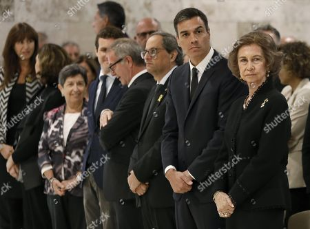 Spanish Prime Minister, Pedro Sanchez (2R), Catalan regional President, Quim Torra (3R), and Emeritus Queen Sofia (R) attend the funeral service of late Spanish soprano Monserrat Caballe in Barcelona, Spain, 08 October 2018. Monserrat Caballe died early 06 October 2018.